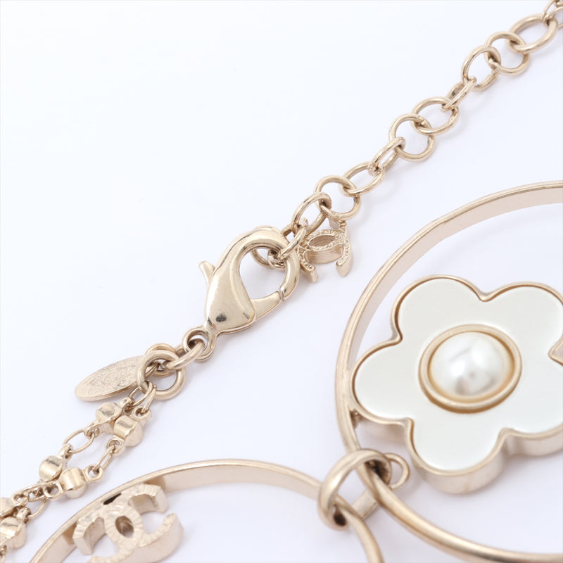 Chanel COCO Mark Necklace Fake Pearl Gold Flower P18P|RANK:AB