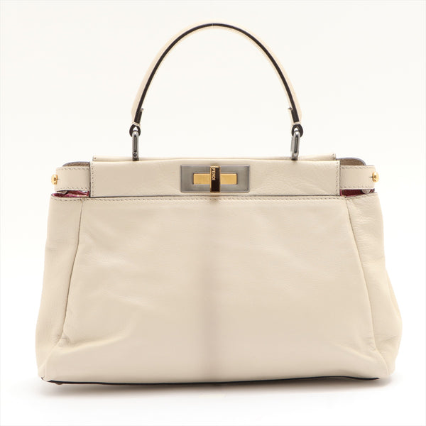Fendi Peekaboo Regular Leather 2WAY Shoulder Bag White