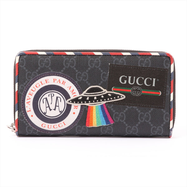 Gucci GG Supreme Courier 496342 Leather Wallet Black