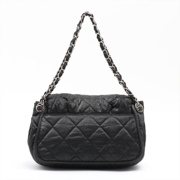 Chanel Matrasse Coated Canvas ChainShoulder Bag Black SilverMetal 12 series Surface slightly sticky