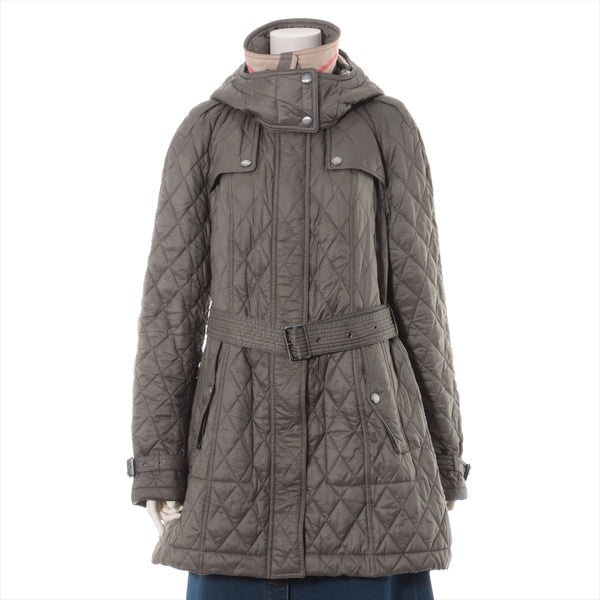 Burberry Brit Nylon Coat XL Ladies Khaki Quilting