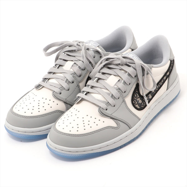 "Dior x Nike AIR JORDAN 1 LOW OG DIOR Leather Sneakers 9.6"" Unisex Gray with Proof of Purchase"