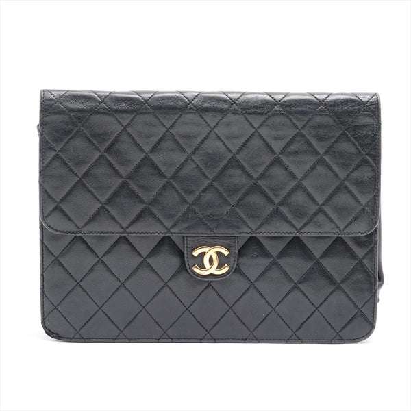 Chanel Matrasse Lambskin ChainShoulder Bag Black Gold Metal No Seal