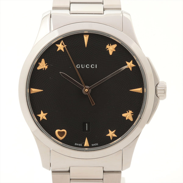 Gucci G Timeless 126.4 Stainless Steel QZ Black Dial Links5 Inner Box Only