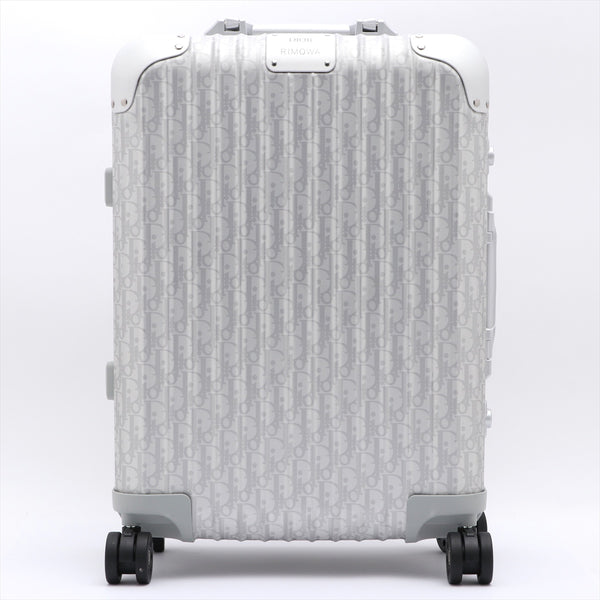 Dior x Rimowa Oblique Aluminum Carry Case Silver 35L PIN: Left and Right 000