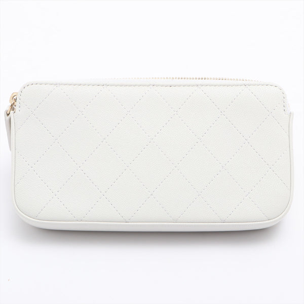 Chanel Matrasse Goatskin Chain Wallet White Gold Metal 29s