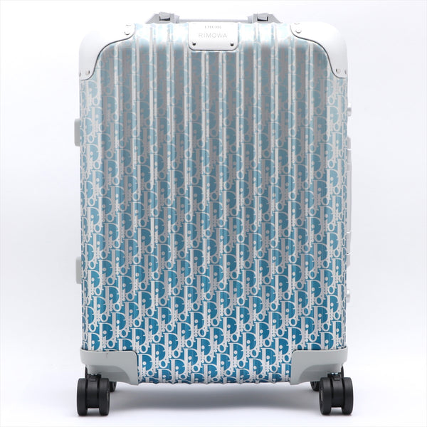 Dior x Rimowa Oblique Aluminum Carry Case Blue 35L Bearer Guarantee PIN: Left and Right 000