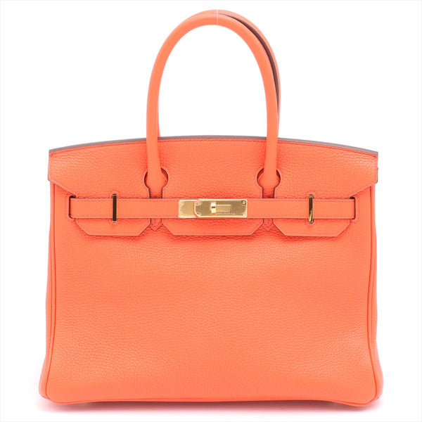 Hermes Birkin 30 Taurillon Clemence Orange Poppy Gold Metal T: 2015