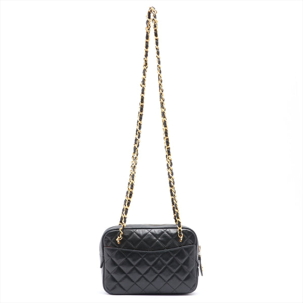 Chanel COCO Mark Lambskin ChainShoulder Bag Black Gold Metal Serial Blurred