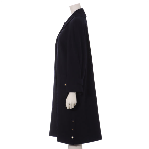 Chanel COCO Button 96A Ka Stainless Yasten Color Coat 34 Ladies Navy