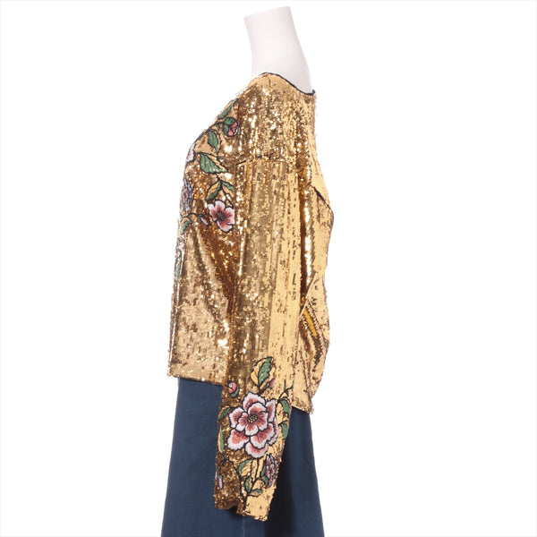 Gucci sequin pullover S ladies gold flower embroidery