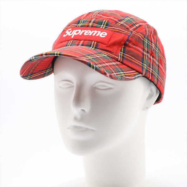 Supreme Cap Cotton x Leather Red