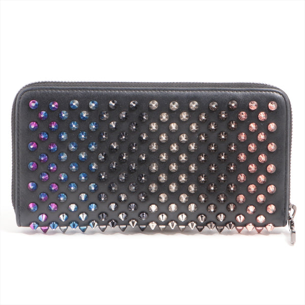 Christian Louboutin Panettone Rockstud Spike Leather Round Zip Wallet Black