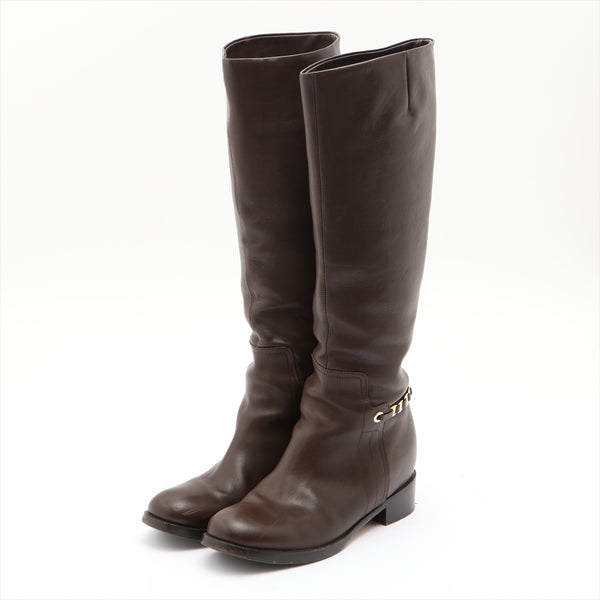 Ferragamo Vala Leather Long Boots 9 Unisex Brown