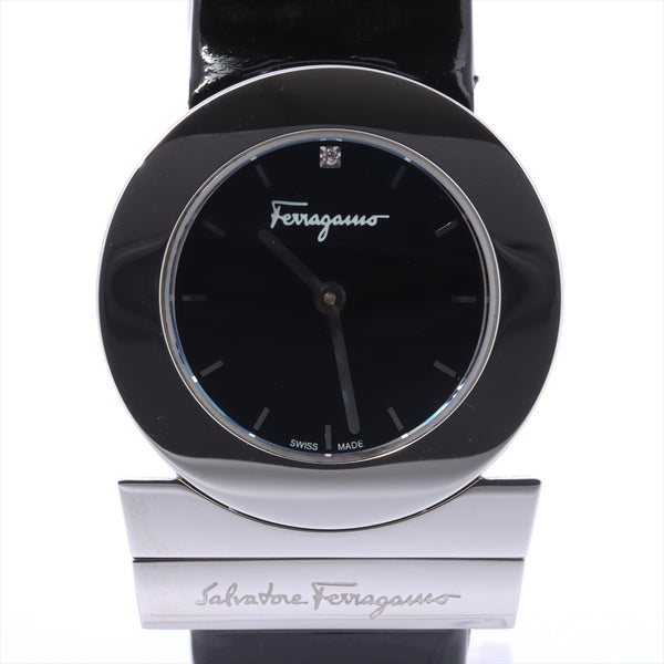 Ferragamo Gancini F56 Stainless Steelx Leather QZ Black Dial