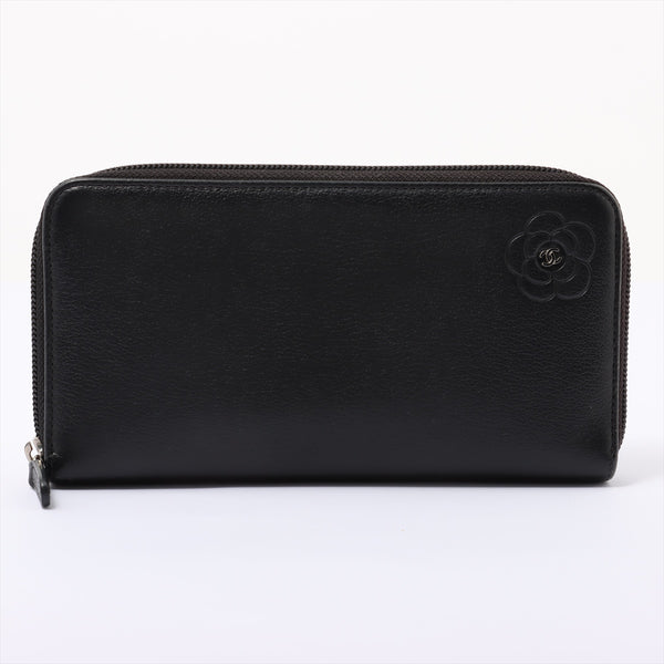 Chanel Butterfly Camellia Leather Round Zip Wallet Black SilverMetal 15s