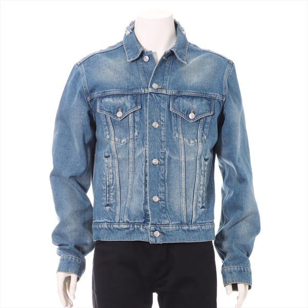 Balenciaga Campaign Logo 17AW Cotton Denim Jacket 48 Men's Blue Damage Processing