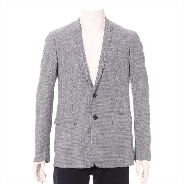 Dior Homme Wool Tailored Jacket 46 Men's Black x White Perforated, with Fray