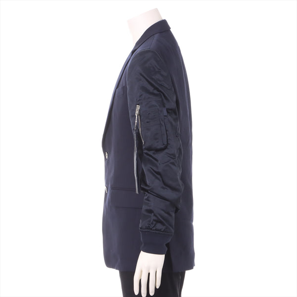 Jibanshi Wool Jacket 48 Men's Navy Brand Tag Unt Bomber Sleeves Wool Stars Blazer Jacket