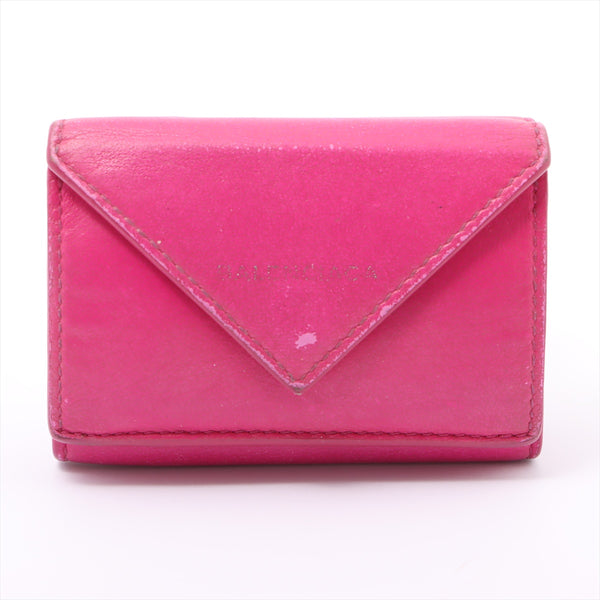 Balenciaga Paper Mini 391446 Leather Wallet Pink