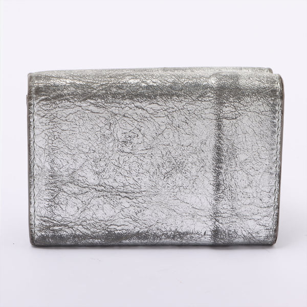 Balenciaga Paper Mini 391446 Leather Wallet Silver External Rubberd Large Internal Stainless Rubberd Corner Rubberd