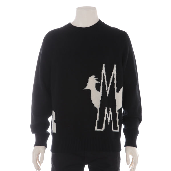 Moncler MAGLIONE 19 Years Wool xcashmere Knit L Mens Black|RANK:AB
