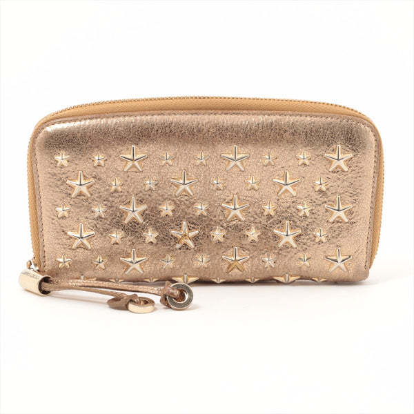 Jimmy Choo Star Studs Leather Round Zip Wallet Gold