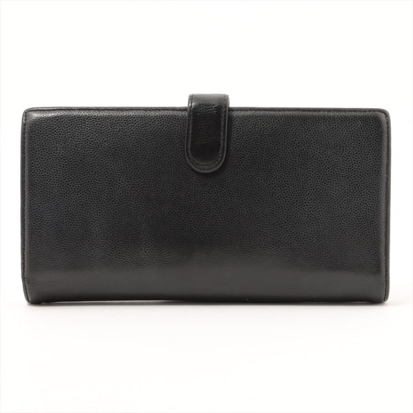 Chanel COCO Mark Leather Wallet Black SilverMetal 13s