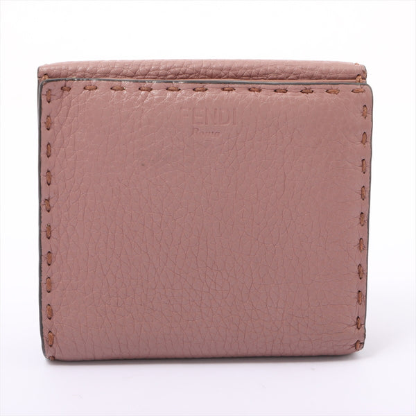 Fendi Peekaboo Celeria Leather Wallet Pink Beige