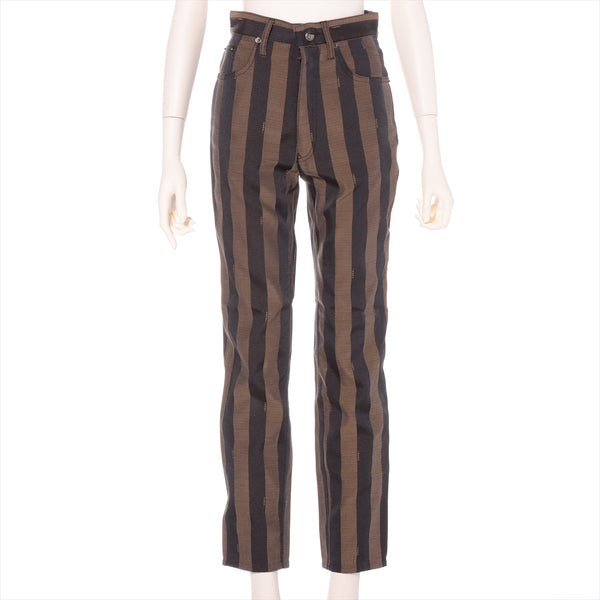 Fendi Cotton x Polyester Pants I 41 Ladies Black x Brown|RANK:AB