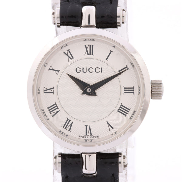 Gucci 2040L Stainless Steelx Leather QZ White Dial