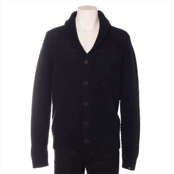 Hermes cashmere cardigan M men's navy quality tag with Fray|RANK:B