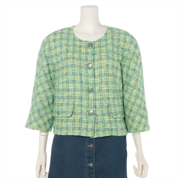 Chanel COCO Button P60 Tweed Jacket 46 Ladies Green