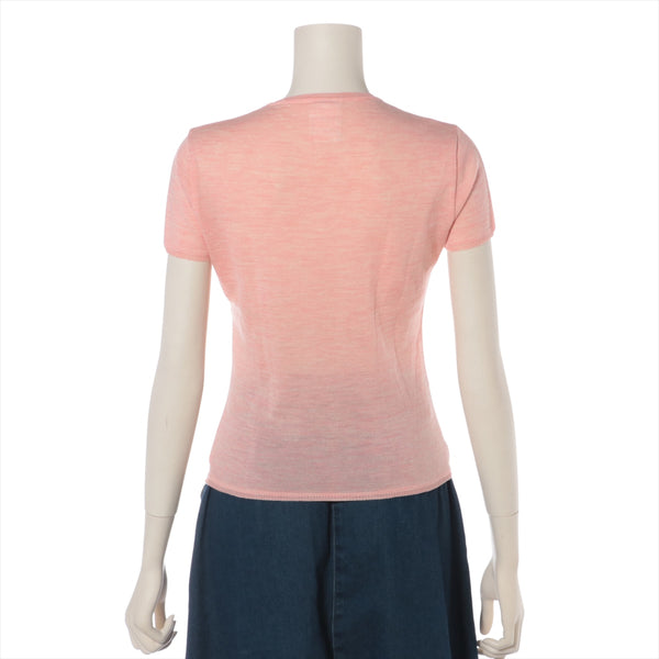 Chanel COCO Mark 01A Wool Short Sleeve Knit 38 Ladies Pink|RANK:AB