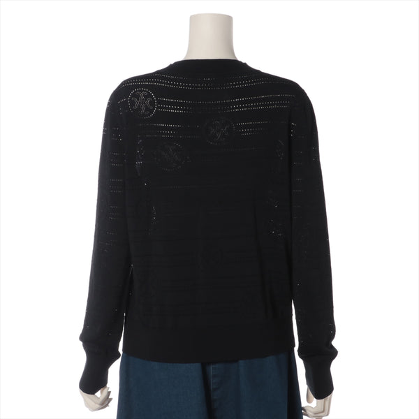 Hermes Cotton x Rayon Cardigan 42 Ladies Black Serie Button|RANK:A