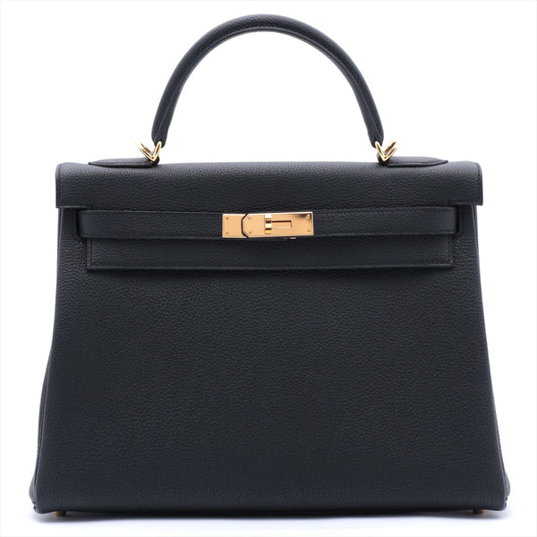 Hermes Kelly 32 Togo Black Gold Metal Y: 2020