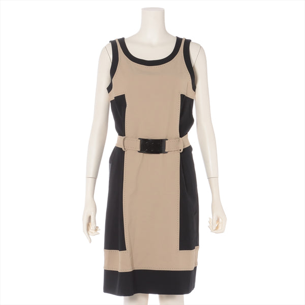 Fendi Material Unknown Sleeveless Dress 42 Ladies Black x Beige No Quality Tag