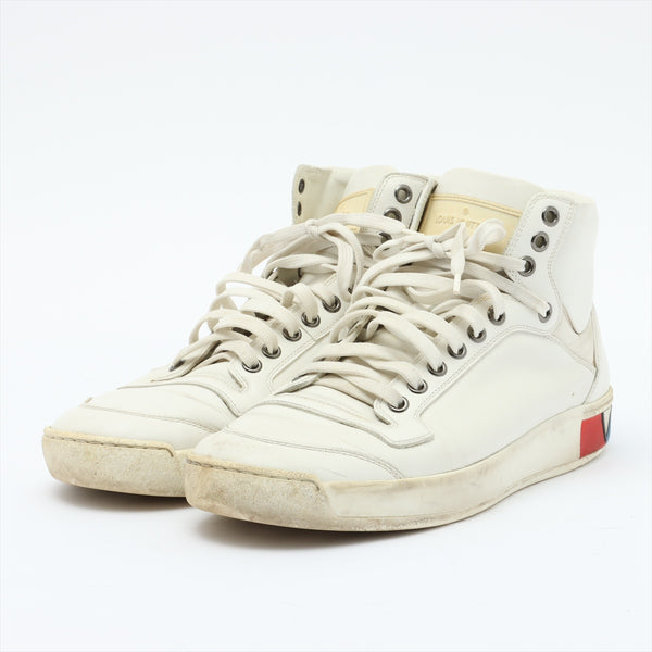 Louis Vuitton GO0136 Leather High Top Sneakers 7 Men's White