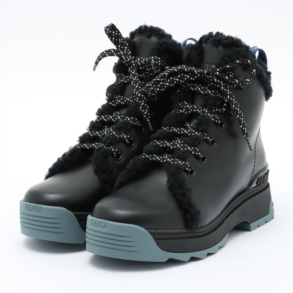 Fendi Leather Boots 35 Ladies Black Bore|RANK:A
