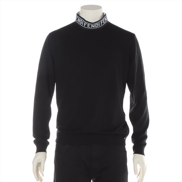 Fendi 20AW Wool High Neck Knit 48 Men's Black Logo