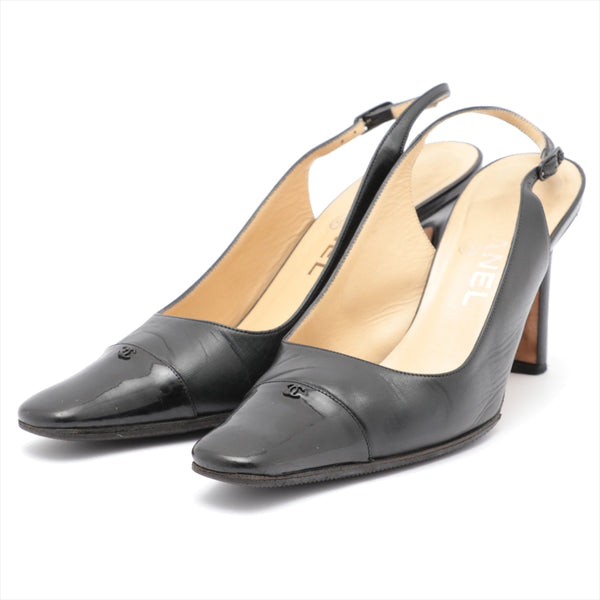 Chanel COCO Mark Leather x Patent Pumps 36 Ladies Black Sole Repair Available