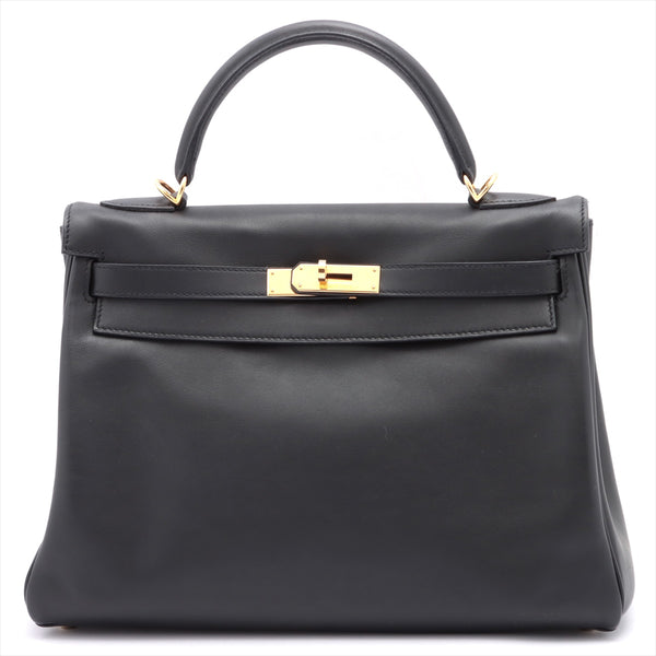 Hermes Kelly 32 Vaux Swift Black Gold Metal □ M: 2009