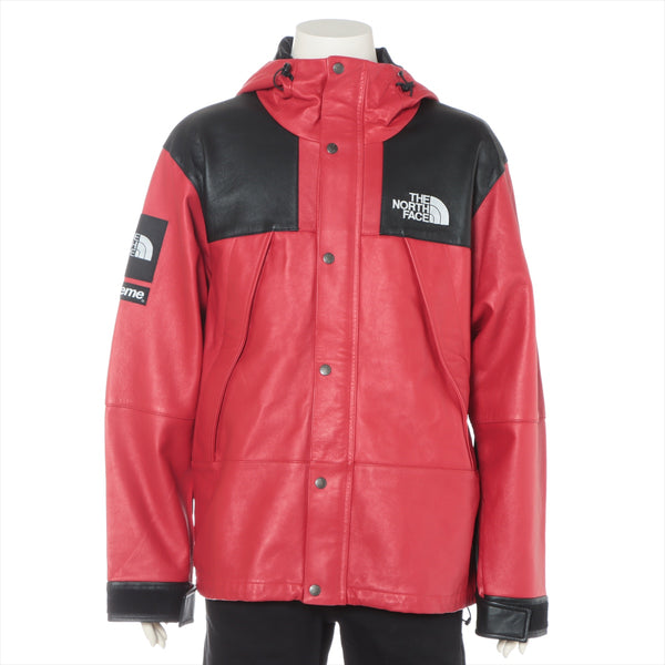 Supreme x North Face 18AW Sheepskin Leather Jacket L Men's Red x Black Leather Mountain Jacket