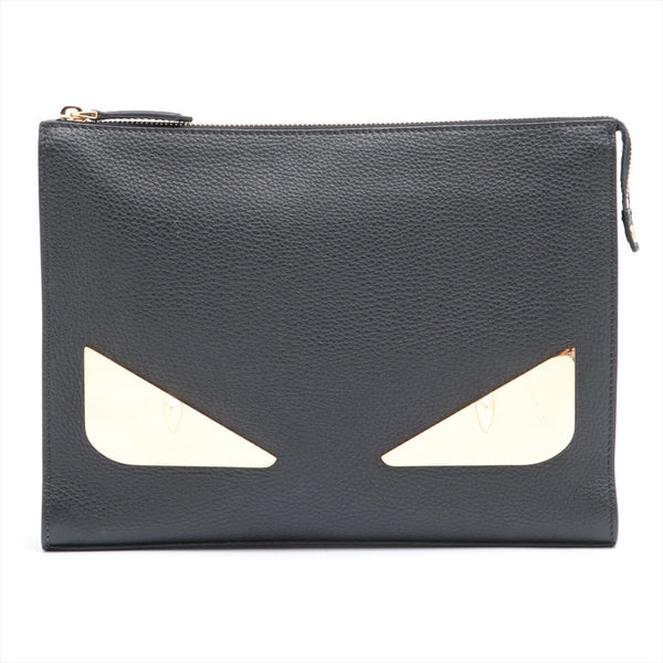 Fendi Monster Leather Clutch Bag Black 7VA433|RANK:B