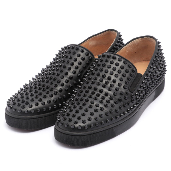 Christian Louboutin Leather Slip-On 43.5 Men's Black Spike Studs