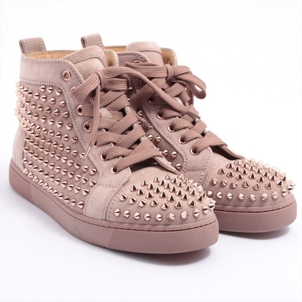 Christian Louboutin Suede Leather High Top Sneakers 37 Women's Pink Beige Spike Studs
