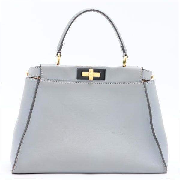 Fendi Peekaboo Regular Leather 2WAYShoulder Bag Blue 8BN290|RANK:B
