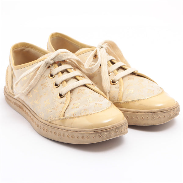 Louis Vuitton Suede x Patent Sneakers 37.5 Ladies Beige Monogram