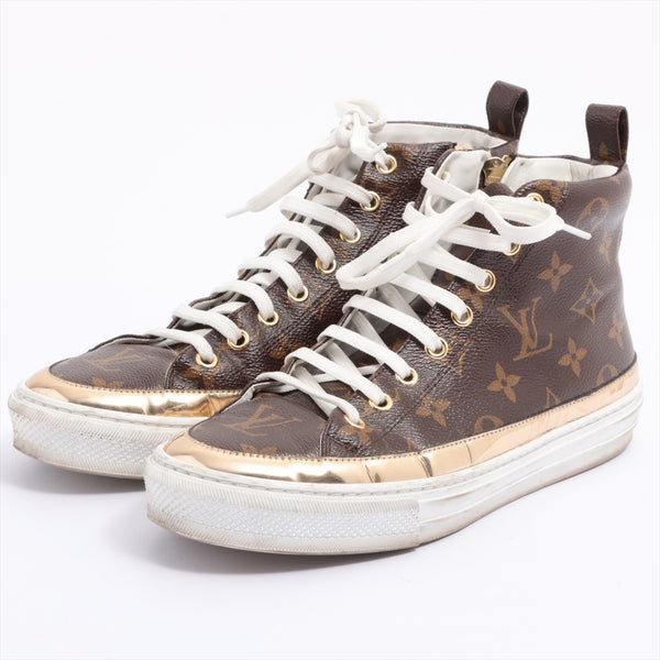 Louis Vuitton Stellar Line PVCx Leather High Top Sneakers 37.5 Ladies Brown Monogram
