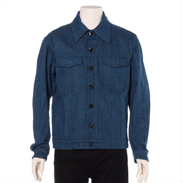 Fendi 20SS cotton denim jacket 46 men's navy logo total pattern|RANK:AB